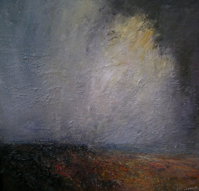 Approaching Shower Curbar Edge 100 x100cm