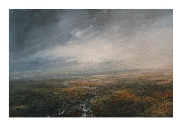 Dusk Across Burbage Moor 120x80cm Mixed Media on Canvas