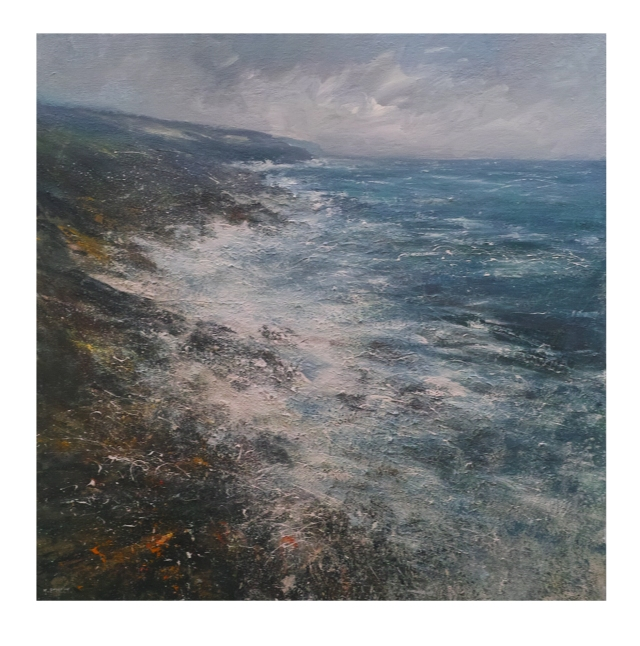 100x100 Mixed Media on Canvas Atlantic Swell, Towards Zennor Head, Cornwall £1950
