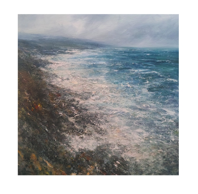 100x100cm Mixed Media on Canvas Northerly Gale, Clodgy Point, St Ives, Cornwall. £1950.n