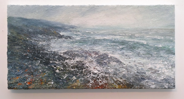 100x50cm Mixed Media on Canvas Storm, Towards Hor Point, Zennor Head, Cornwall £1200
