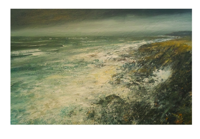 120x80cm Mixed Media on Canvas Evening  Zennor Head £1960.m