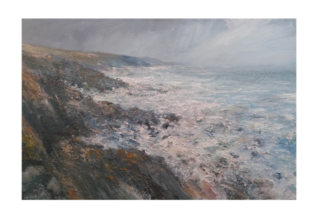 150x100cm Mixed Media on Canvas Approaching Storm Towards Zennor Head Cornwall £2750.