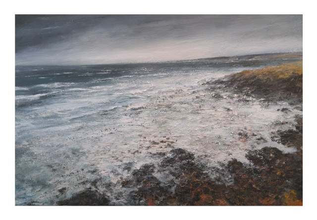 120cm x 80cm Breakers at Low Water, Clodgy Point, St Ives £1960.JPG