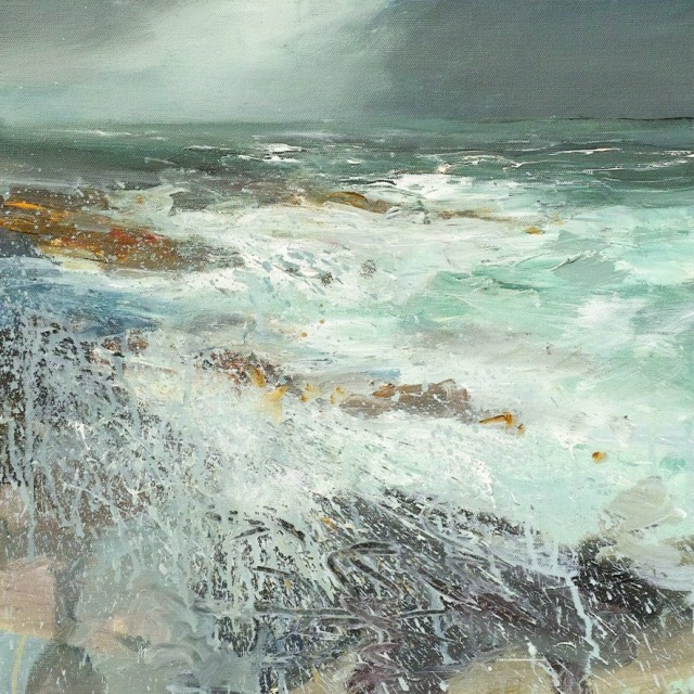Kristan Baggaley Breakers Rolling Over Clodgy Point St Ives