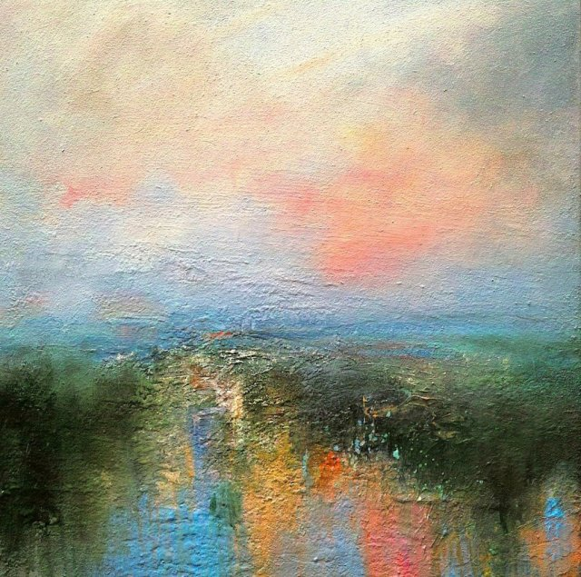 End of the Day Across Ladybower Reservoir 60cm x 60cm Mixed Media on Canvas.jpg