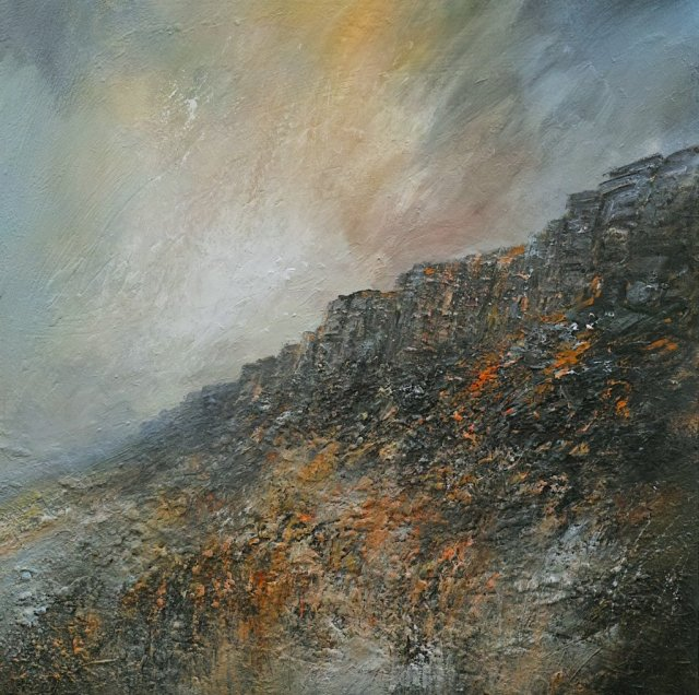 Evening Thaw Stanage Edge 100cm x 100cm Mixed Media on Canvas.jpg