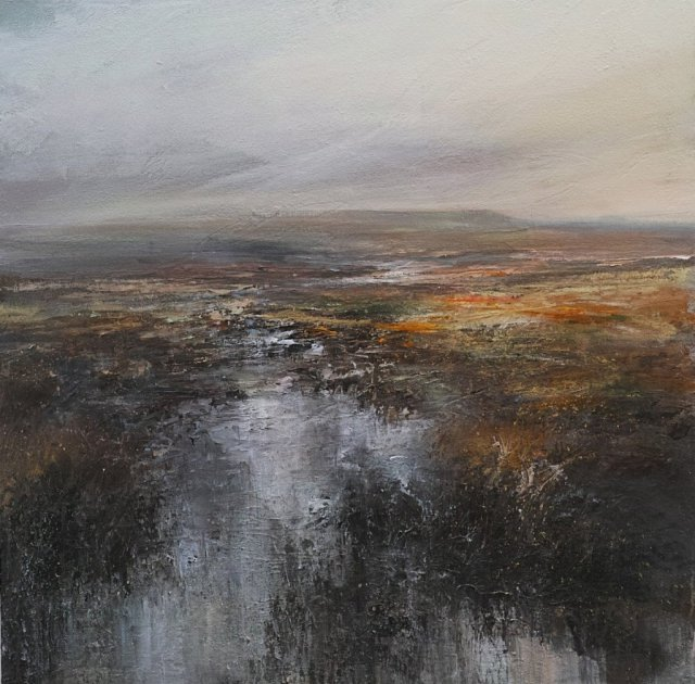 Peat Bog Burbage Moor Toward Kinder Scout 80cm x 80cm Mixed Media on Canvas.jpg
