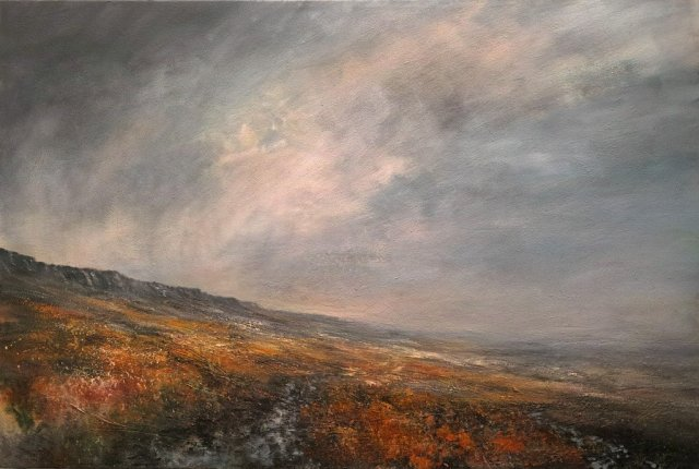 Sun Breaking Through Above Stanage Edge 150cm x 100cm Mixed media on Canvas.jpg